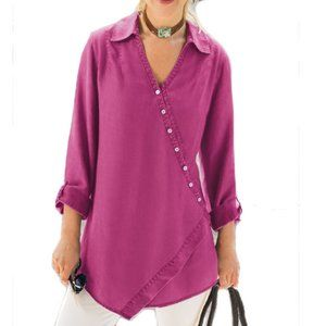 Soft Surroundings Asymmetrical Button Front Tunic